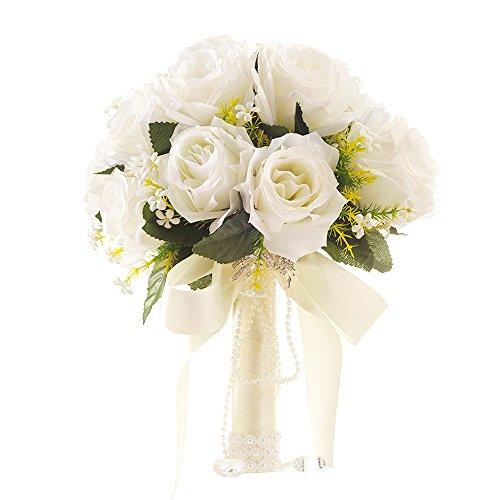 Ramo nupcial de la novia Ramo de la boda Ramos de estilo coreano Falsas flores artificiales rosadas de la boda que sostienen las flores con el Rhinestone.