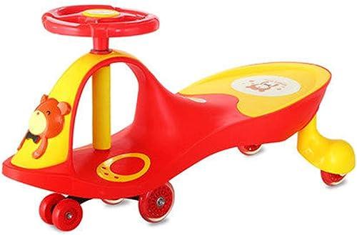 LiRuShop Bobbycars & Rutscher Ride On Swivel Scooter Kinder Wiggle Gyro Swing Auto M lich und Weißich Baby Schaukel Auto Universalrad 1-3-6 Jahre alt Taxiing muss Keine Batterie einstellen