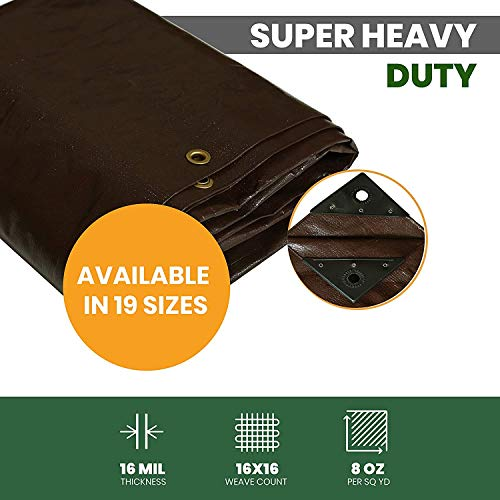 Super Heavy Duty Poly Tarp Cover Thick 16 Mil, Waterproof, UV Resistant, Rot/Rip/Tear Proof Tarpaulin (Cut Size: 6' x 8', Finished Size: 5'6