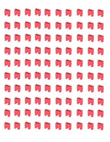 50 x Mini-Deckel, 2,54 mm, kurz, rot