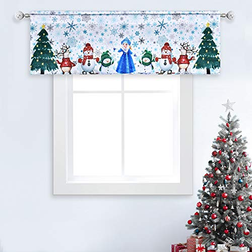 Christmas Window Curtain Valance for Kitchen Blue Snowflake Green Christmas Tree Red Snowman Printed Rod Pocket for Living Room Bedroom Decor 52X18 Inches 1 Panel Green Red Blue