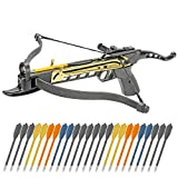 KingsArchery Crossbow Self-Cocking 80 LBS Adjustable Sights, 3 Aluminium Arrow Bolts Bonus 24-Pack Colored PVC Arrow Bolts