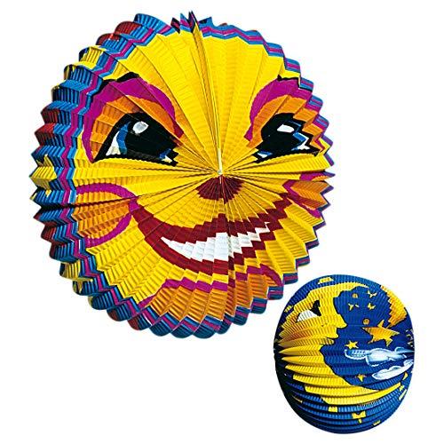 NET TOYS 2er Set Lampions mit Sonne & Mond - Blau-Gelb Sonne Ø 25cm & Mond Ø 30cm - Hübsche Party-Deko Papier-Laternen - Geeignet für Kindergeburtstag & Sommerfest