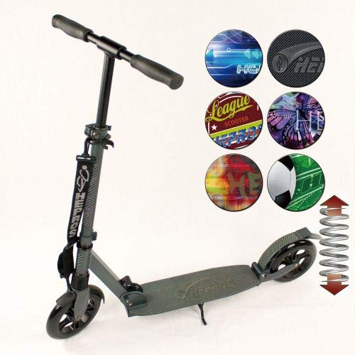 Hepros gefederter XXXL BigWheel Fully Scooter 200mm Cityroller anthrazit Farbauswahl German Art
