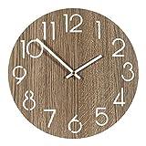 Reloj Pared de Madera, 30cm Madera Reloj de Pared Grande Salon, Reloj Pared Grande, Reloj Cocina Pared, Reloj Pared Silencioso, Reloj de Pared para Decoración Hogar, Decoracion Pared, Habitacion