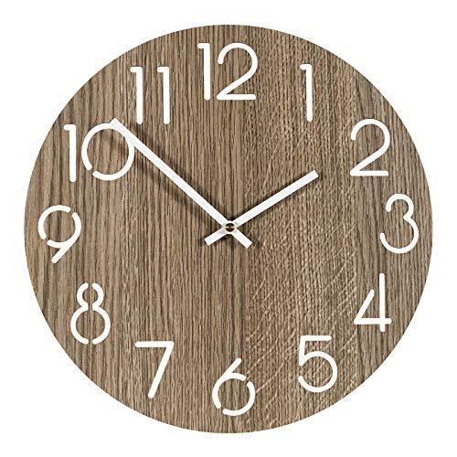 Reloj Pared de Madera, 30cm Madera Reloj de Pared Grande Salon, Reloj...