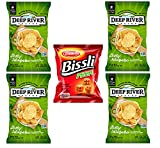 Deep River Zesty Jalapeno Kettle Cooked Potato Chips, (Pack of 4) - 2 Ounce Bags - Bissli Pizza (Pack of 1) - 1.23 Ounce Bag (5 Total Bags)