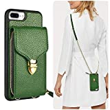 JLFCH iPhone 8 Plus Wallet Case, iPhone 7 Plus Crossbody Case with Card Slot Holder Zipper Buckle Wrist Strap Long Crossbody Chain Purse for Apple iPhone 7/8 Plus 5.5 inch - Dark Green