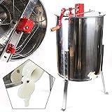 OUKANING Centrifugadora de Miel Profesional Extractor de Miel Manual 4 Marcos en Acero Inoxidable Apicultura + Tapa