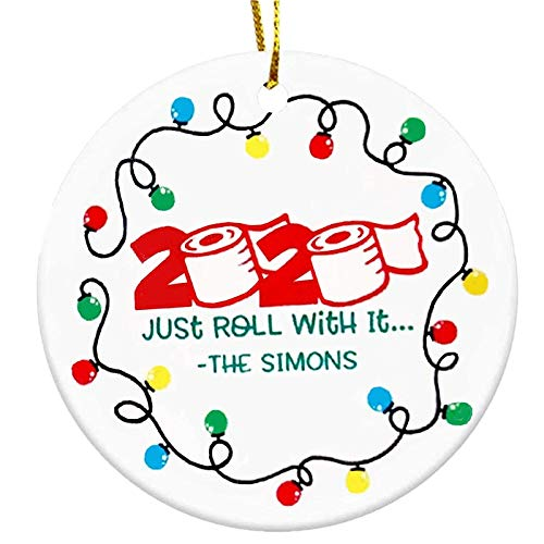 AOJIAN Coronavirus Christmas Ornaments with Masks Santa 2020 Covid Quarantine Personalized Christmas Decorations Holiday Home Decor (D)