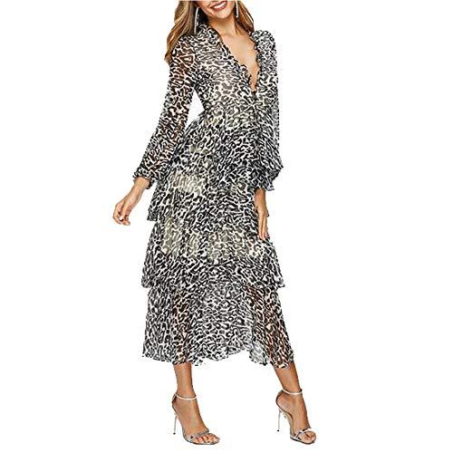 JIANFEI LIANG El Vestido Mujeres Falda Midi con Estampado de Leopardo