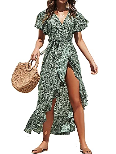 ABINGOO Vestido Mujer Verano Playa Fiesta Vacaciones Largo Vestidos Cóctel Bohemio con Cinturón,Verde,XL