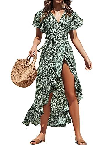 ABINGOO Vestido Mujer Verano Playa Fiesta Vacaciones Largo Vestidos Cóctel Bohemio con Cinturón,Verde,M