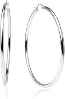 Sterling Silver High Polished Round-Tube Click-Top Hoop Earrings, All Sizes