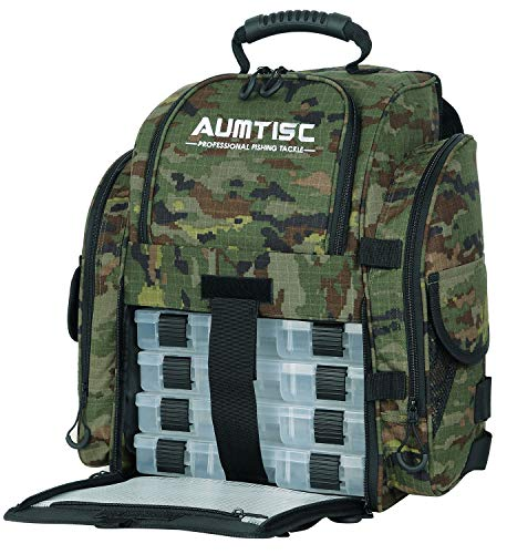 AUMTISC Fishing Backpack Large Capacity Tackle Bag with Protective Rain Cover and 4 Trays Tackle Box (Camo)