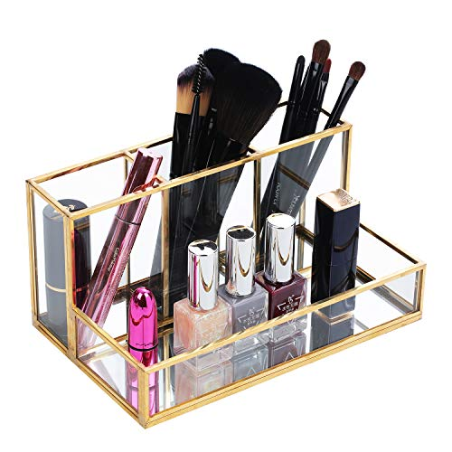 Makeup Brush Holder, Handcrafted Clear Glass Cosmetic Brushes Organizer Nordic Style Elegant Pen Pencil Holder Decoration Make up Brushes Holder with 4 Compartment for Vanity Bathroom Bedroom Office