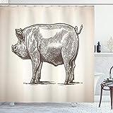ABAKUHAUS Schwein Duschvorhang, Vintage handgezeichnete Bild, mit 12 Ringe Set Wasserdicht Stielvoll Modern Farbfest & Schimmel Resistent, 175x200 cm, Dunkle Taupe & Grau weiß
