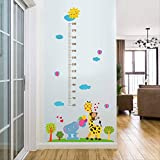 Sticker Autocollant Mural Autocollant Giraffe Baby Elephant Height Pour Enfants,...