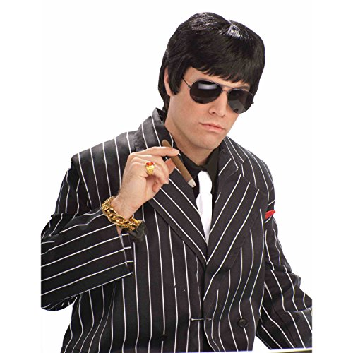 L' adulte Tough Guy Noir perruque Tony Montana Scarface Al Pacino Mobster Mob 80