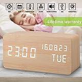 Alarm Clock,Wood Digital Alarm Clock Displays Time Date Week and...