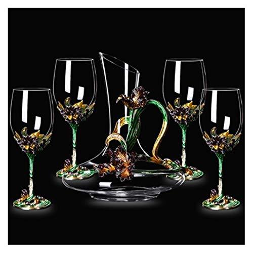 BENGKUI Esmalte Iris Cristal Cristal Vino Rojo Vidrio decantador Conjunto Vino Champagne Vidrio Copa de Regalo Boda Caja de Regalo (Color : Green 5 pcs)