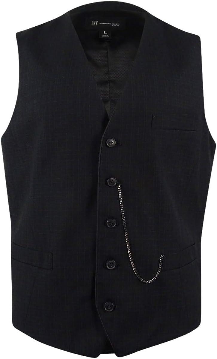 I-N-C Mens Jace sold out Slim New item Button Plaid Vest Five
