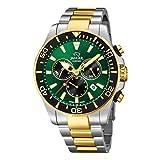 JAGUAR Reloj Modelo J862/3 de la colección Executive, Caja de 43,5 mm Verde con Correa de Acero Bicolor para Caballero