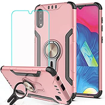Galaxy A10 Case Galaxy M10 Phone Case with HD Screen Protector,KaiMai Ring Magnetic Holder Kickstand Dual Layers of Shockproof Phone Case for Samsung Galaxy A10-LJ-Rose Gold New