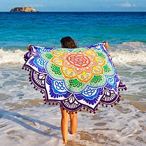Damen Strandkleid Bikini Cover up, Stranddecke, Wrap, Sexy Bohemian Beach Wickelrock, Strand Sarong Pareo Frauen, Beachwear Rockkleid für Frauen, Runder Pareo (Color : C)