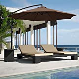 Best Choice Products 10ft Offset Hanging Aluminum Polyester Market Patio Umbrella w/ 8 Ribs and Easy Tilt Adjustment, Brown