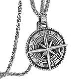YABEME Náutica Brújula Colgantes Collar Celtic Vintage Aventuras Viaje Talismán North Star Circle Me...