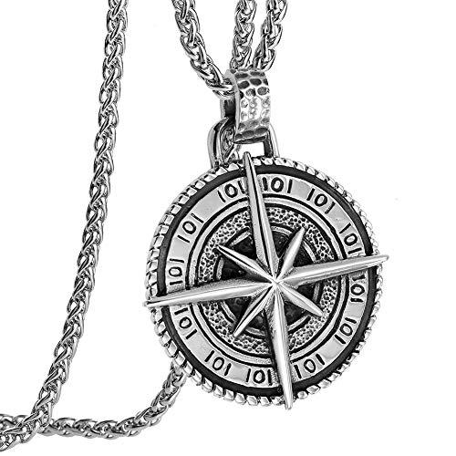 YABEME Náutica Brújula Colgantes Collar Celtic Vintage Aventuras Viaje Talismán North Star Circle Medalla Joyería Romántico Aniversario Regalo de Cumpleaños para Hombres/Esposa