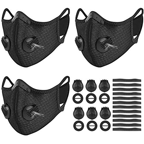 UBRU 3 Set Sports Cycling Masks with Activated Carbon Filter, 6 Breathing Valve and 12 Soft Foam Padding for Women Men Running Walking
