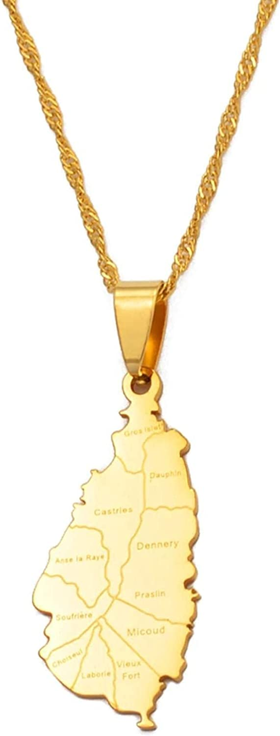 Saint Lucia Map City Necklace For Women Girl Gold Color Jewelry St. Lucia Cities Pendant Chains Jewellery