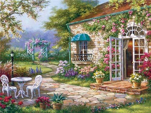 Dschungelhaus Flusslandschaft-5d Diamant Painting,-Kunsthandwerks-Arts Craft mit Malerei zubehör für Home Wand40x50cm