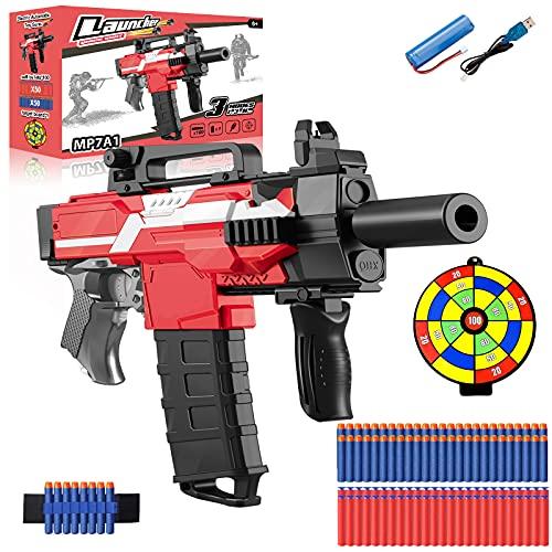 Pistola Eléctrica de Juguete con Clip de 12 Dardos, MP7A1 Automática para Nerf Flechas + 100 Balas Espuma + Batería Recargable USB, 3 Modos de Disparo, Regalos para 5-15 años niño, Adolescente