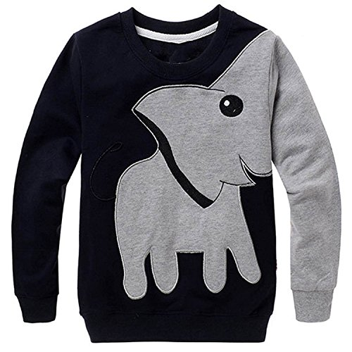 Jomago Boy Shirts Toddler Long Sleeve Top Kids Elephant Tee Toddler Sport Sweatshirt 6T Black