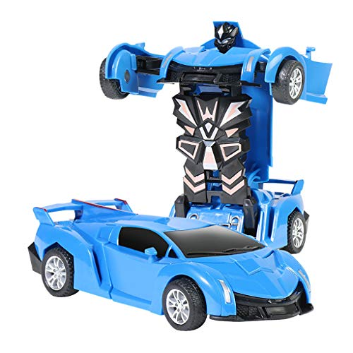 Deformation Car Model Toy, Mingbai Pull Back Collision Inertial Car Crash Transform Car Robot Toy with One Button Transformation, for Kids, Children and Toddlers 1:32 Scale(Blue)