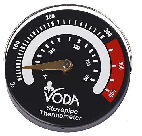 VODA Magnetic Stove Flue Pipe Thermometer Temperature Indicator Gauge for Log/Wood Burner