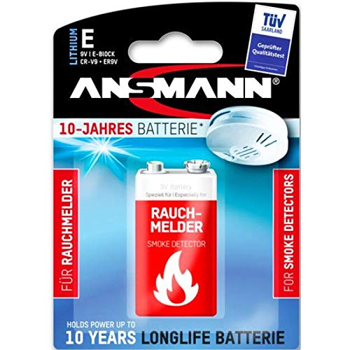 Ansmann Lithium Batterie für Rauchmelder 9V E-Block speziell für Rauchwarnmelder