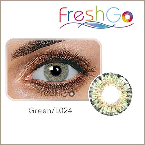 Farbige Jahres Kontaktlinsen braun, blau, grün, grau, türkis weich, ohne Stärke als 2er Pack (2 Stück)- mit Aufbewahrungsbox, angenehm zu tragen, perfekt für helle und dunkle Augen, Party (Grün)