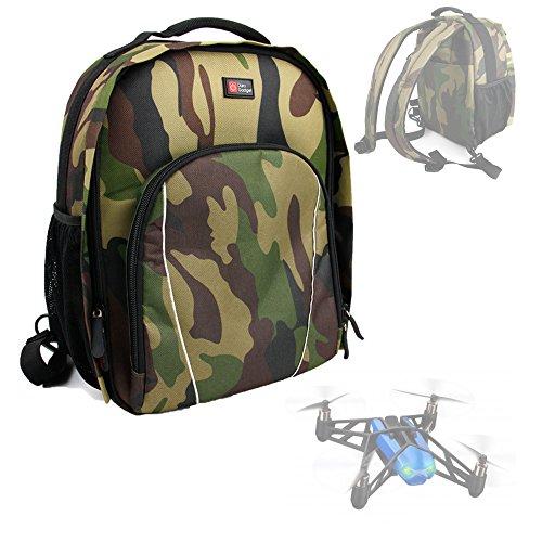 DURAGADGET Mochila Camuflaje para Drone Parrot Bebop + Funda Impermeable - con Compartimentos Internos