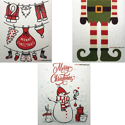 Mixed Christmas B Set of 3 Cloths (one of Each Design) Swedish Dishcloths   ECO Friendly Reusable Absorbent Cleaning Cloth