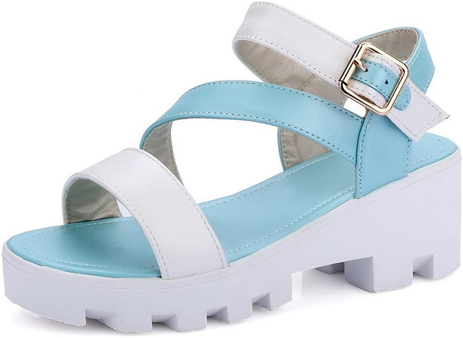 AmoonyFashion Women's Assorted color PU Kitten-Heels Open Toe Buckle Platforms-Sandals