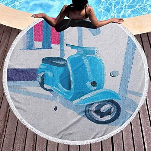 Circle Beach Towel Country Toalla de Playa Multiusos Mini Scooter en Suave mediterráneo Medio día Italian Town Life Symbol Art Paint Print con Borla, Alta solidez de Color Azul Gris (diámetro 59 ')