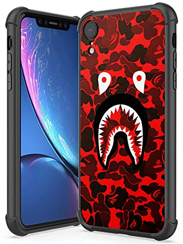 Compatible with iPhone XR Case, PC Back BAPE Printing Pattern and Soft TPU Bumper Case, for iPhone XR 6.1 Inch (Red)