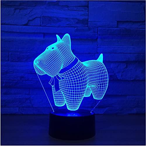 Precioso perro pequeño interruptor táctil de luz de noche 3D 7 colores cambiantes lámpara de mesa Led luces de noche decoración del hogar juguete para niños regalo