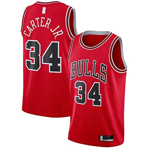 YUEJI Camiseta de baloncesto para hombre Swingman Team Bulls Sports Jr. Camiseta de manga corta Chicago Clothing Bulls Wendell #34 Carter Rojo - Camiseta de baloncesto Icon Edition-M