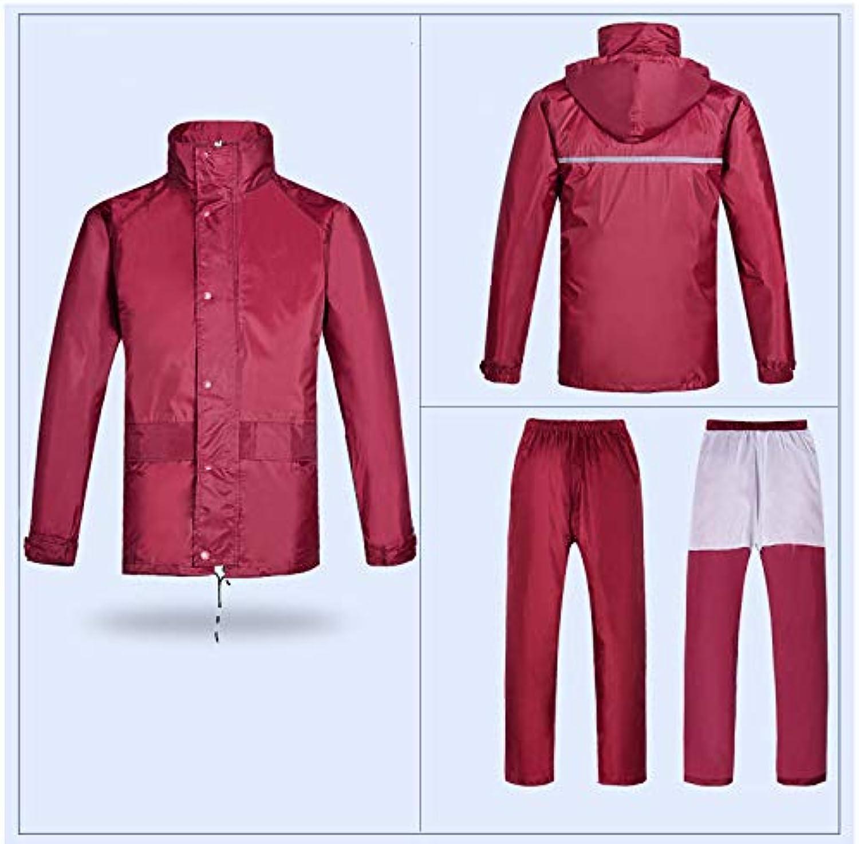 LIYONG Rain Poncho, Raincoat Outdoor Waterproof Reflective Poncho Rain Pants Set Double Layer Split Raincoat Foldable