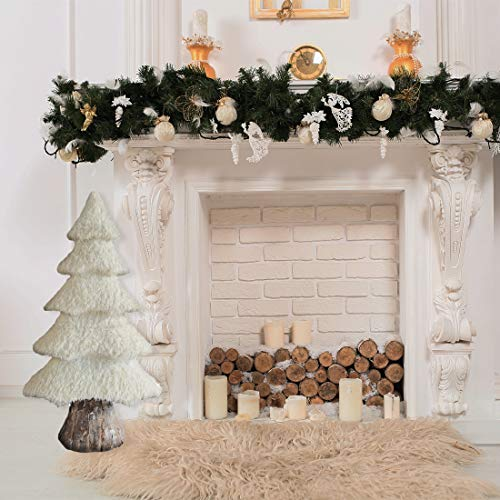Fraser Hill Farm 44-in. White Furry Tree with Faux-Bark Trunk, Festive Indoor Christmas Decoration, FHFTREE044-WHT1